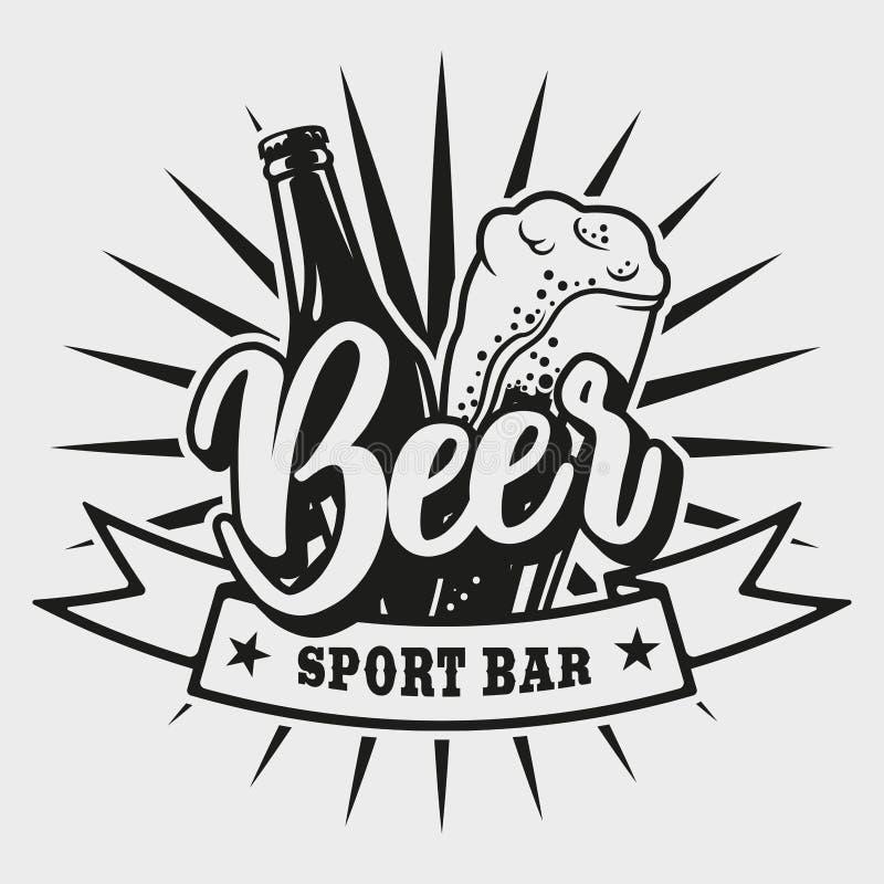 Logotipo para a barra da cerveja no fundo branco fotografia de stock