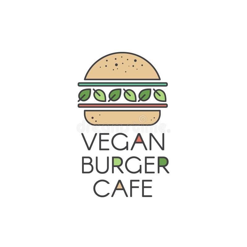Logotipo para café ou restaurante da grade do hamburguer do vegetariano ou do vegetariano, hamburguer do vegetariano com salada f ilustração do vetor