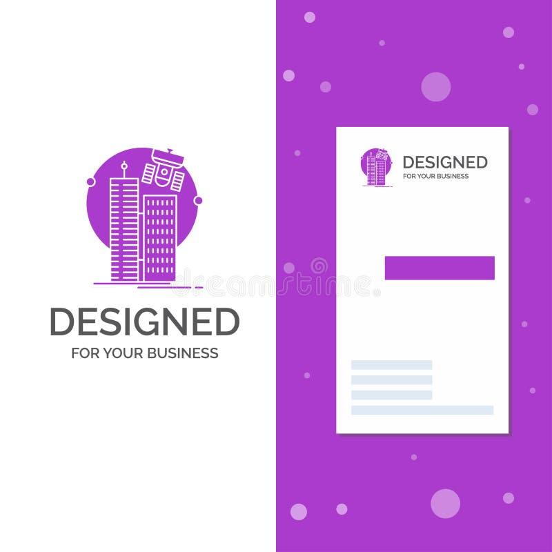 Logotipo para construir, ciudad elegante, tecnolog?a, sat?lite, sociedad del negocio r libre illustration