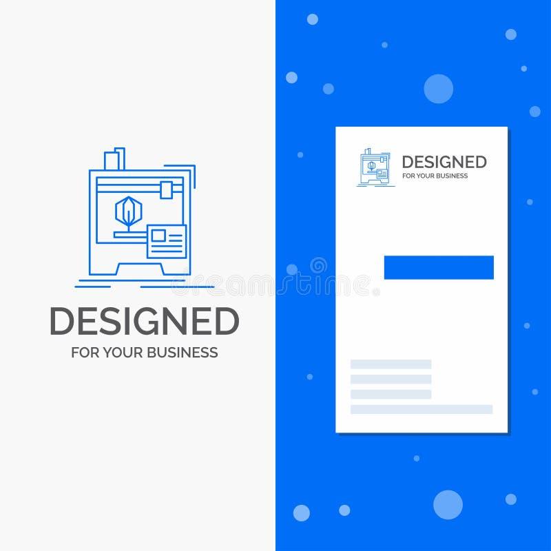 Logotipo para 3d, dimensional, m?quina do neg?cio, impressora, impress?o Molde azul vertical do cart?o do neg?cio/de visita ilustração royalty free
