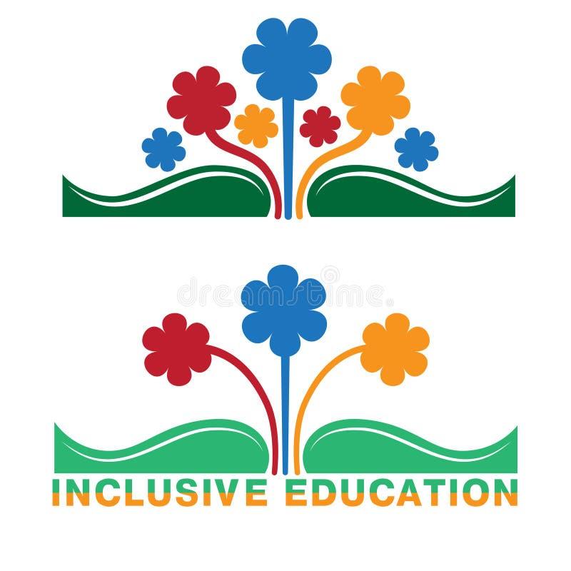 Logotipo para a educação inclusiva, conceito da igualdade de povos diferentes ilustração royalty free