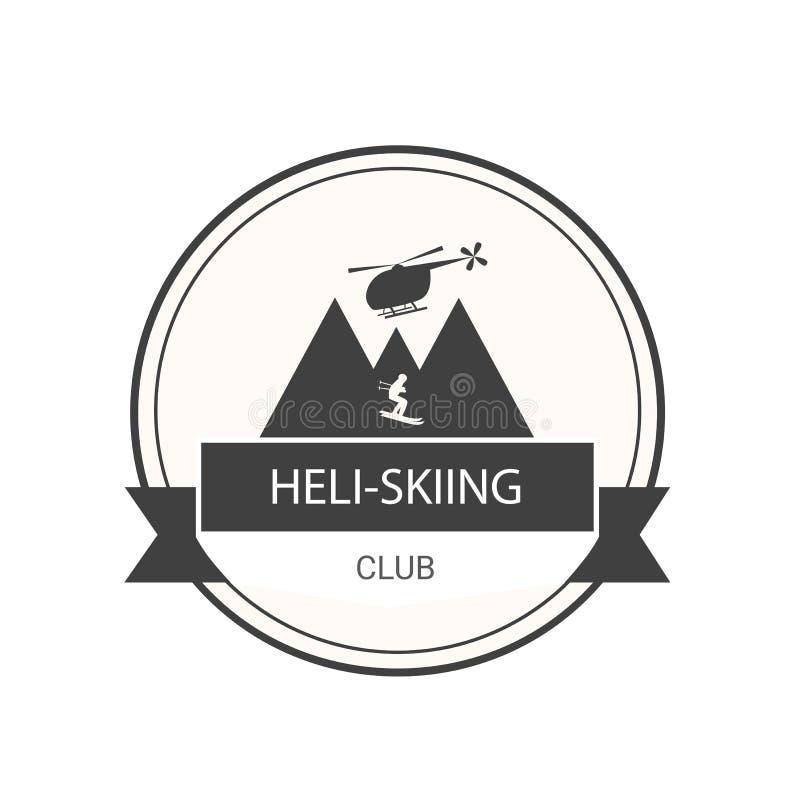 Logotipo para el club del Heli-esquí con el helicóptero, las montañas y el esquiador libre illustration