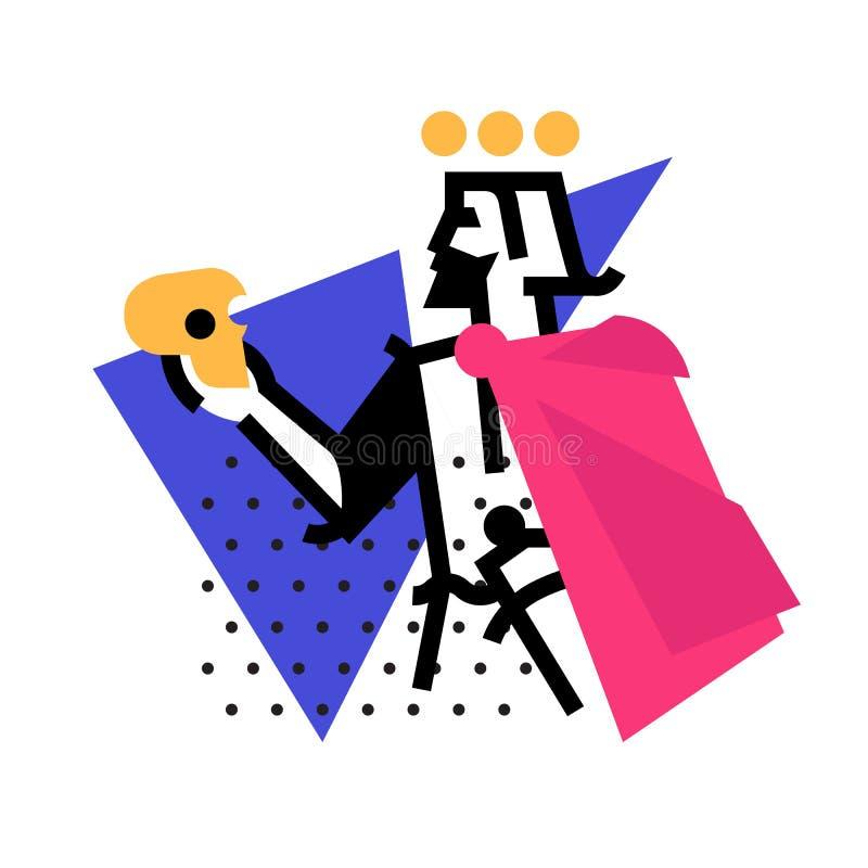 Logotipo para el estudio de teatro Ejemplo de un Hamlet con un skul libre illustration