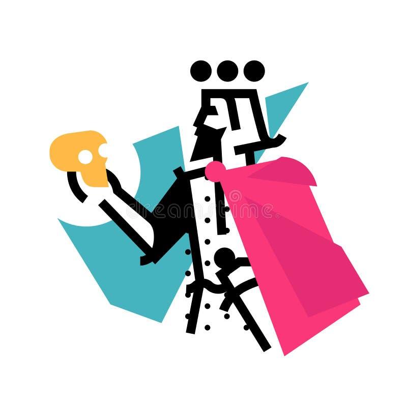 Logotipo para el estudio de teatro Ejemplo de un Hamlet con un skul stock de ilustración