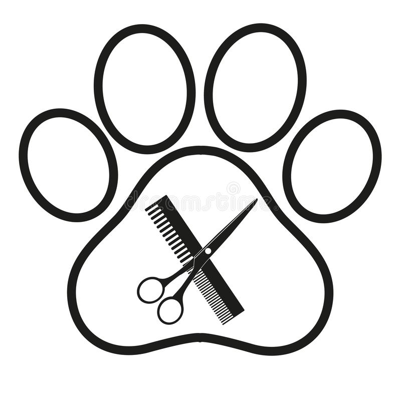 Logotipo para el salón de pelo de perro, diseñando y tienda de la preparación, tienda para los perros ilustración del vector