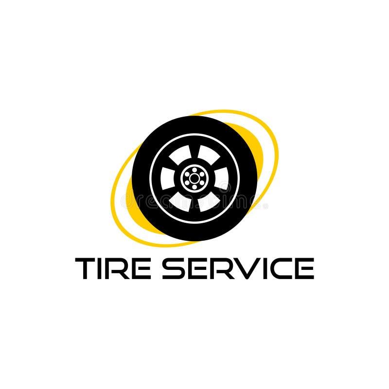 Logotipo para el servicio del neumático, icono del servicio del neumático stock de ilustración
