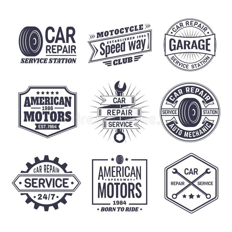 Logotipo para a estação do serviço de reparações do carro, manutenção ilustração do vetor