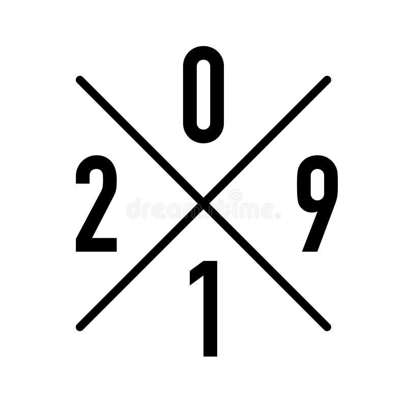 Logotipo para la actual o establecida exhibición del año stock de ilustración