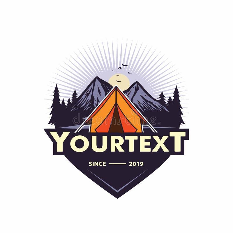 Logotipo para la aventura de la montaña, acampando, expedición que sube Logotipo y etiquetas, ejemplo del vector del vintage del  ilustración del vector