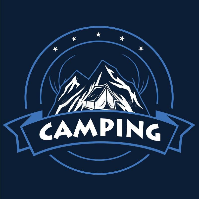 Logotipo para la aventura de la monta?a, acampando, expedici?n que sube Logotipo y etiquetas, ejemplo del vector del vintage del  ilustración del vector