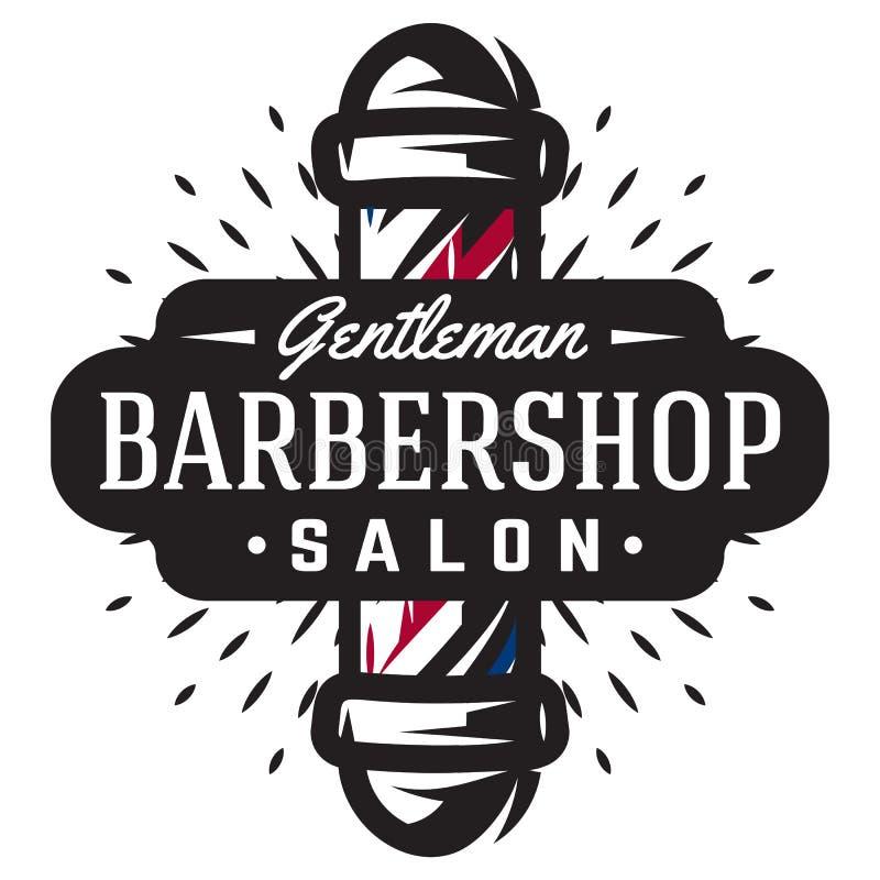 Logotipo para la barbería con el polo del peluquero en estilo del vintage stock de ilustración