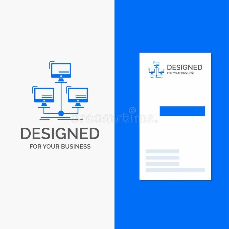 Logotipo para la base de datos, distribuido, conexi?n, red, ordenador del negocio r ilustración del vector