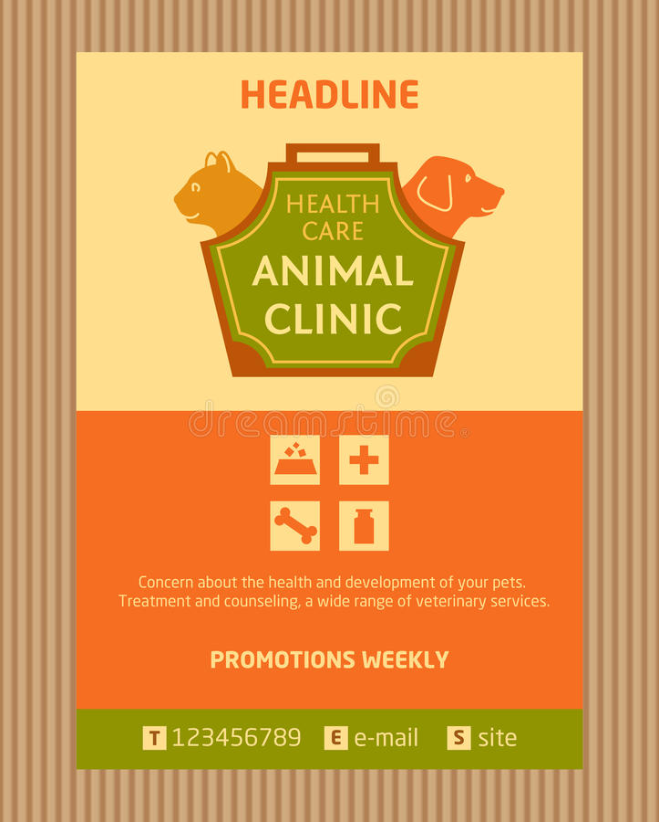 Logotipo para la clínica animal Folleto, diseño del aviador libre illustration