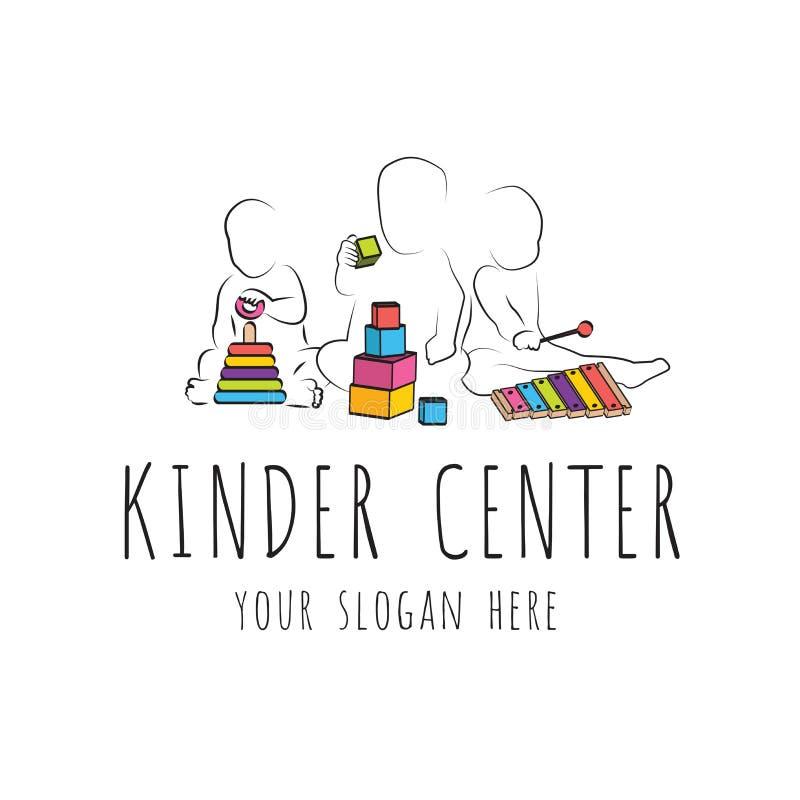 Logotipo para la guardería del centerand del cuidado de niños desarrollo infantil y juegos educativos crecimiento intelectual de  ilustración del vector