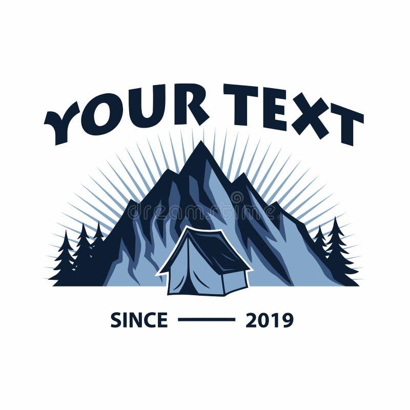 Logotipo para la monta?a, acampando, aventura que sube Logotipo del vector del vintage y dise?o de la plantilla de las etiquetas ilustración del vector