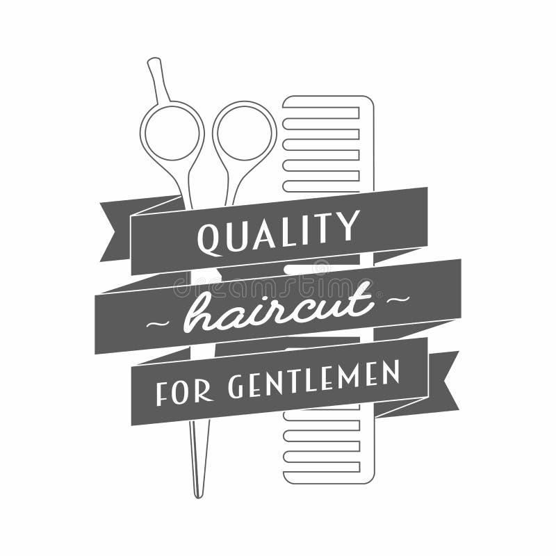 Download Logotipo Para O Barbeiro Nele Tesouras E Pente Do Cabeleireiro  Envolvidos Em Uma Fita Ilustração