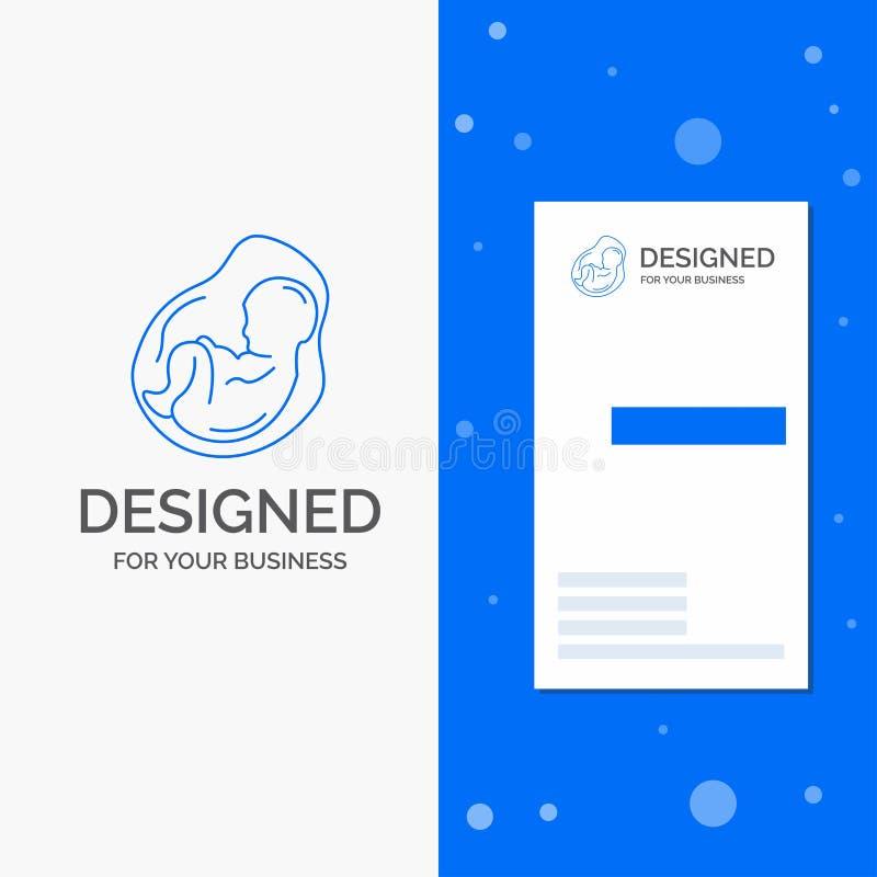 Logotipo para o bebê, gravidez do negócio, grávida, obstetrícia, feto Molde azul vertical do cart?o do neg?cio/de visita ilustração stock