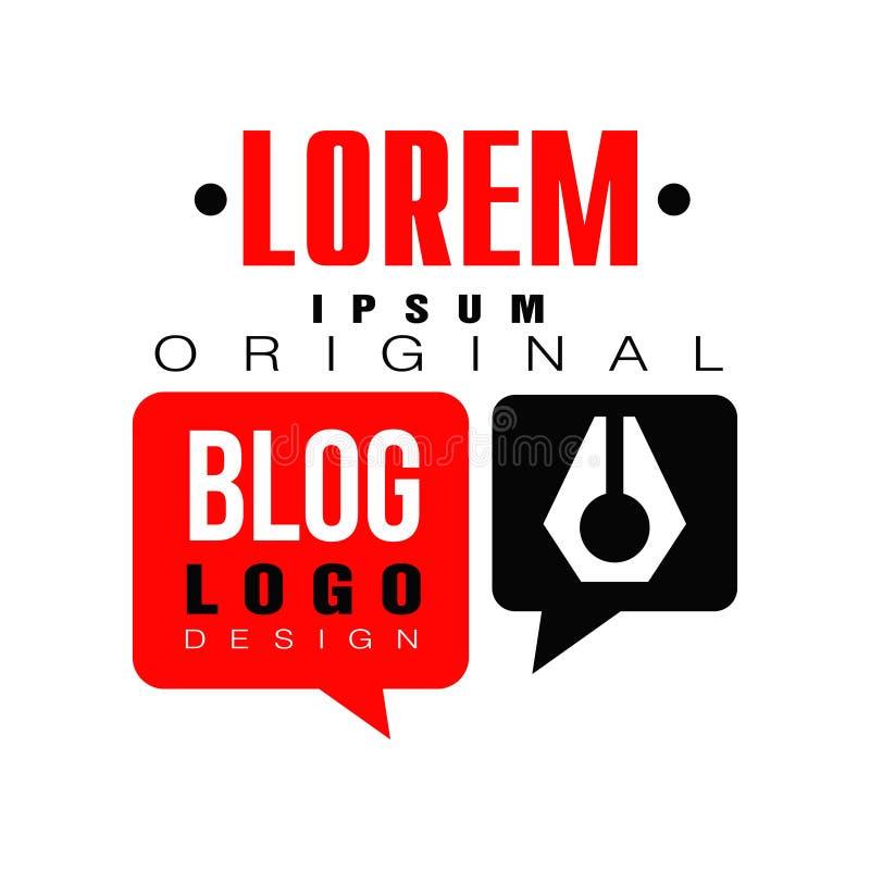 Logotipo para o blogger na moda ou o vlogger da profissão do Internet O emblema video em linha do canal com discurso vermelho-pre ilustração do vetor