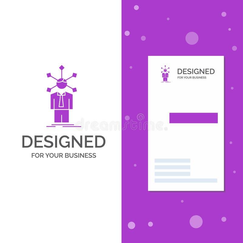 Logotipo para o desenvolvimento, humano, rede do negócio, personalidade, auto Molde roxo vertical do cart?o do neg?cio/de visita  ilustração royalty free