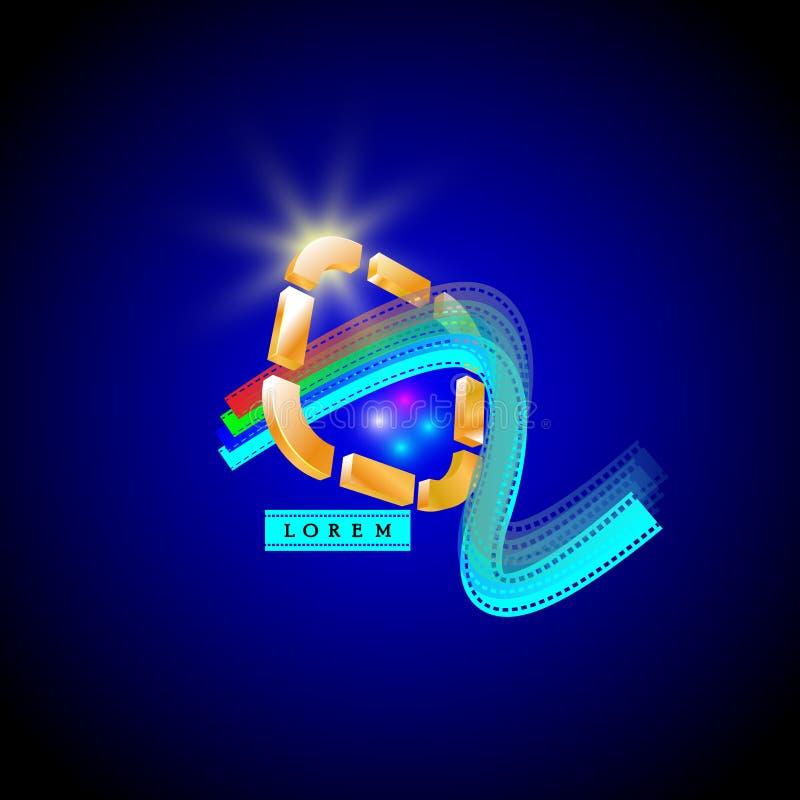 logotipo para o filme, o entretenimento & os meios ilustração do vetor