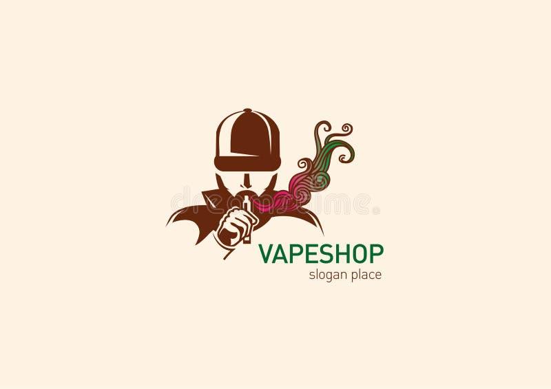 Logotipo para o homem da loja do vape na capa com o cigarro eletrônico ilustração royalty free