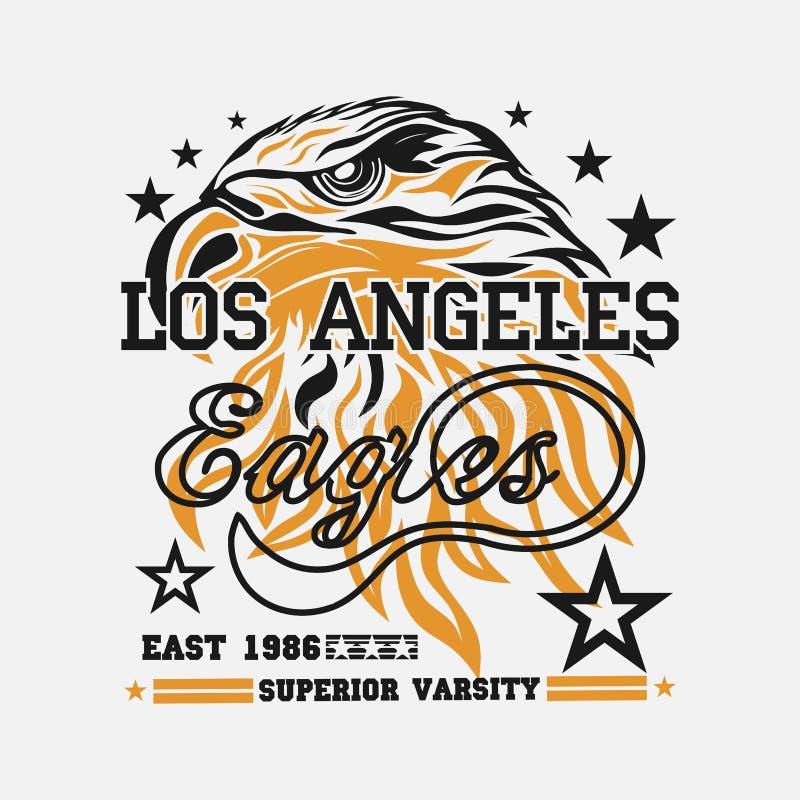 Logotipo para o t-shirt, tipografia da cabeça de Eagle do desgaste do esporte ilustração stock