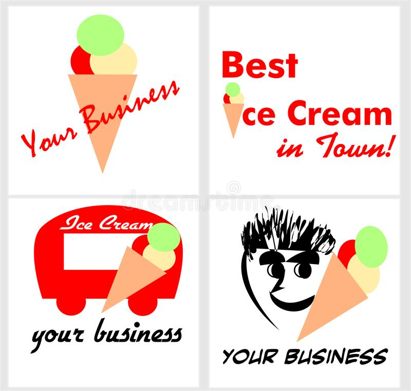 Logotipo para um suporte do gelado ou uma barra de gelado ilustração royalty free