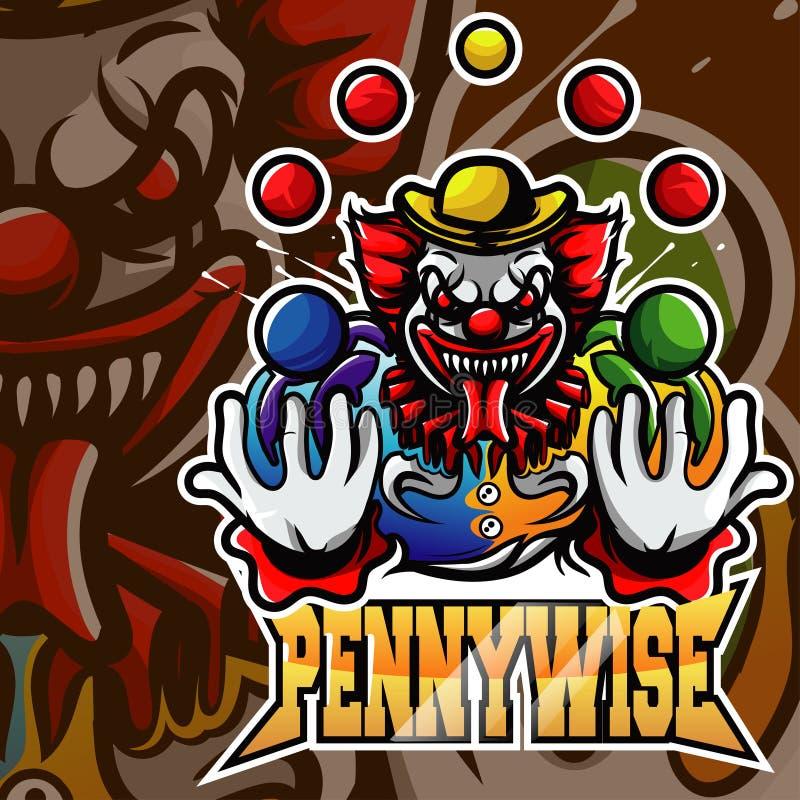 Logotipo Pennywise da mascote do palhaço ilustração stock