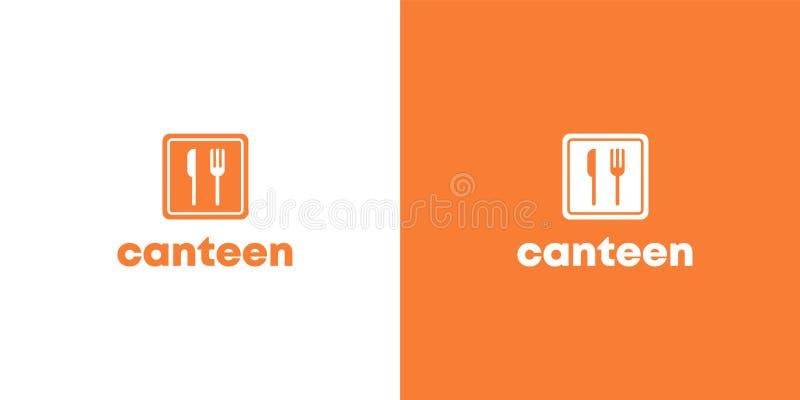 Logotipo plano anaranjado de la cantina con la cuchara y la bifurcación stock de ilustración