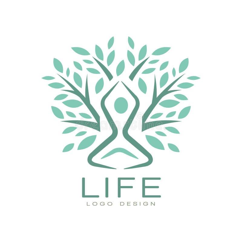 Logotipo plano creativo de la vida del vector con la silueta humana abstracta en actitud de la yoga y hojas verdes del árbol Armo ilustración del vector