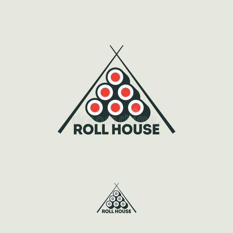 Logotipo plano de la casa del rollo de sushi Rolls y palillos en un fondo blanco ilustración del vector