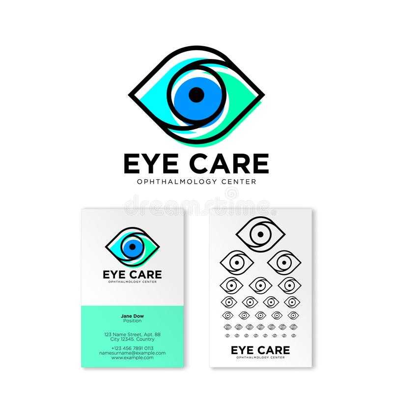 Logotipo plano de la clínica oftalmológica Emblemas del cuidado del ojo Logotipo del contorno Tarjeta de visita creativa con una  ilustración del vector