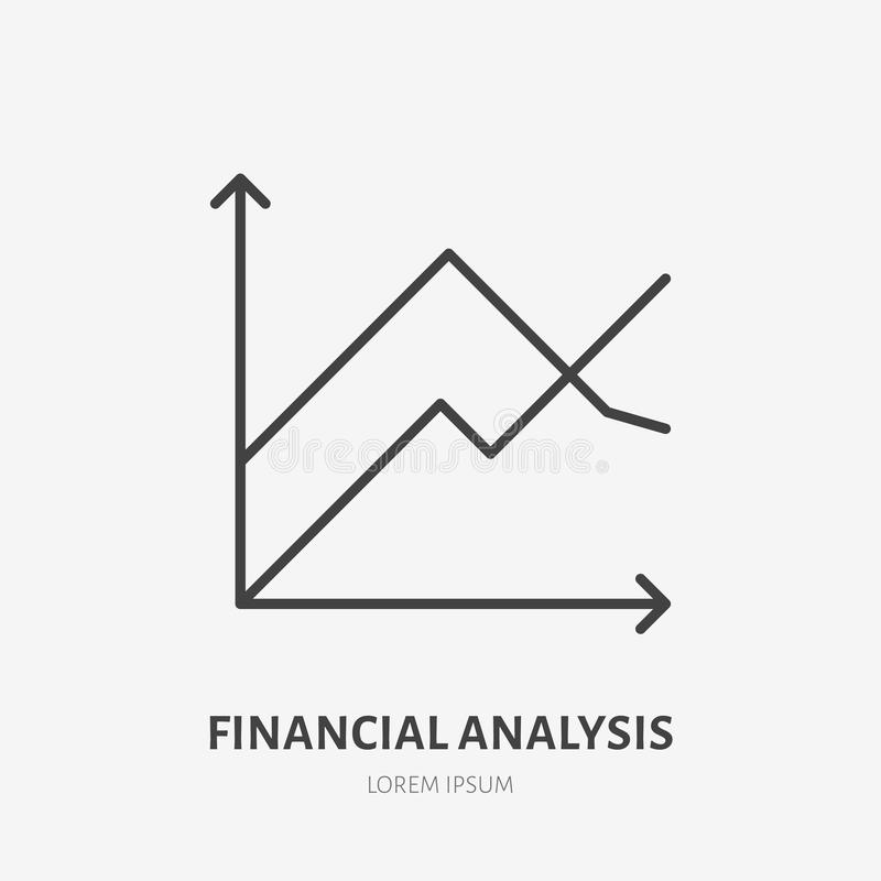 Logotipo plano del análisis financiero, carta, icono del gráfico Ejemplo del vector de la visualización de los datos Muestra para libre illustration