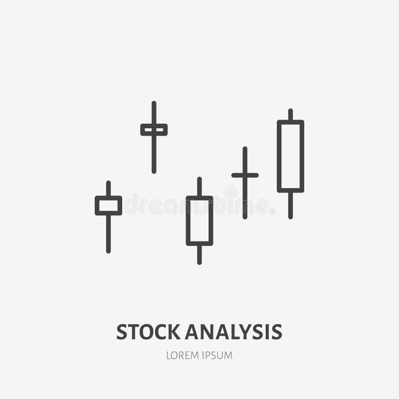 Logotipo plano del análisis financiero, carta del precio de las acciones, icono del gráfico Ejemplo del vector de la visualizació stock de ilustración