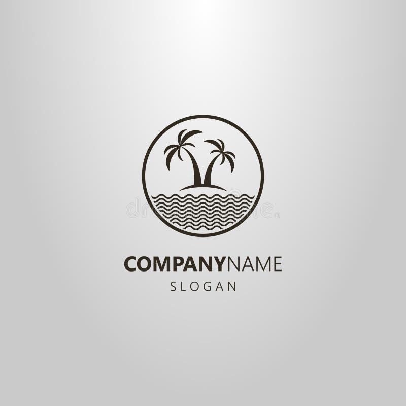 Logotipo plano del arte de dos palmeras y un mar en un marco redondo stock de ilustración
