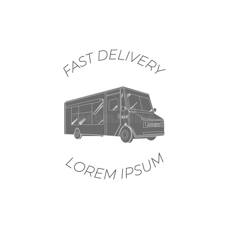 Logotipo plano del diseño del VECTOR, entrega rápida, icono del camión de la comida, Logo Template Isolated en el fondo blanco, b ilustración del vector