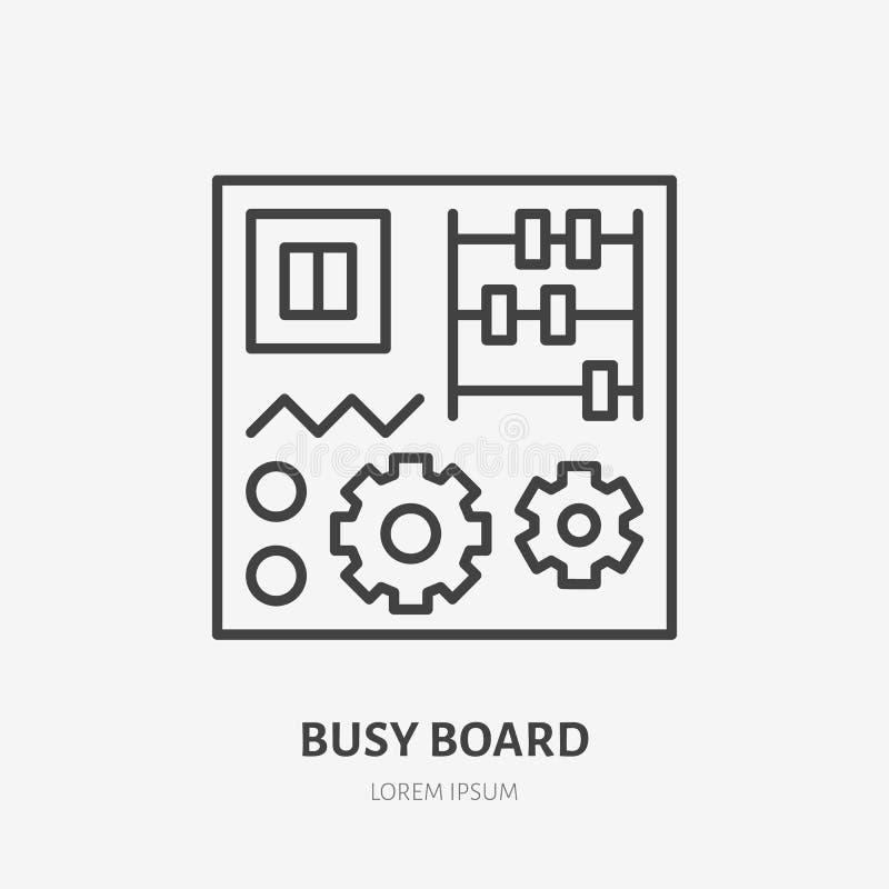 Logotipo plano del tablero ocupado, línea temprana icono del juguete del bebé del desarrollo Ejemplo del vector de la educación d stock de ilustración