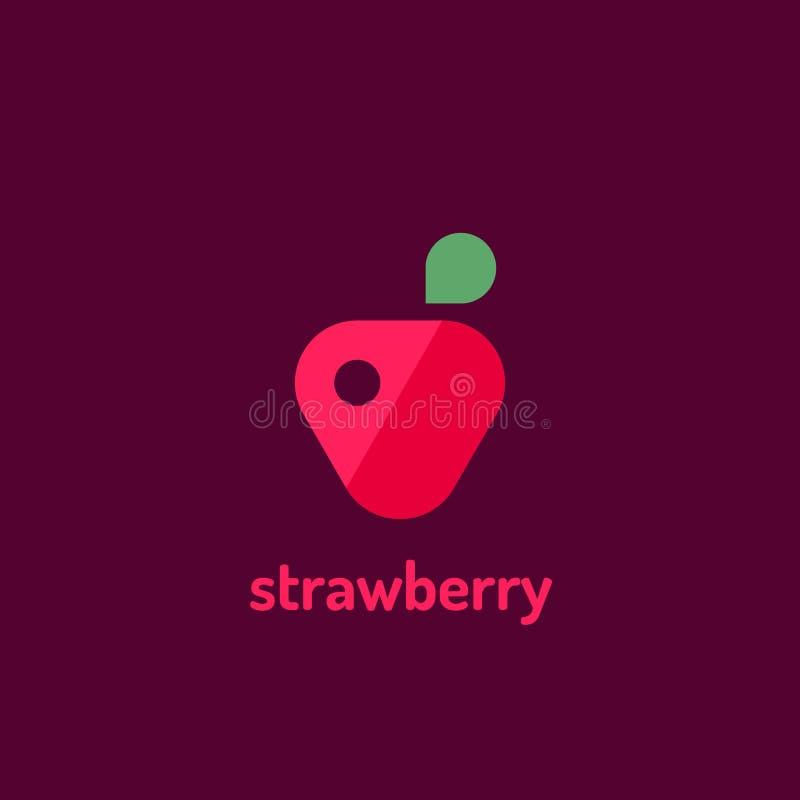 Logotipo plano minimalista del vector de la fresa Logotipo de la plantilla del diseño stock de ilustración
