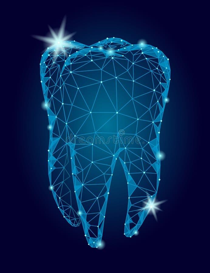 logotipo poligonal da estrutura do dente do modelo 3d Sumário poli do triângulo do símbolo do Stomatology negócio oral dos cuidad ilustração do vetor