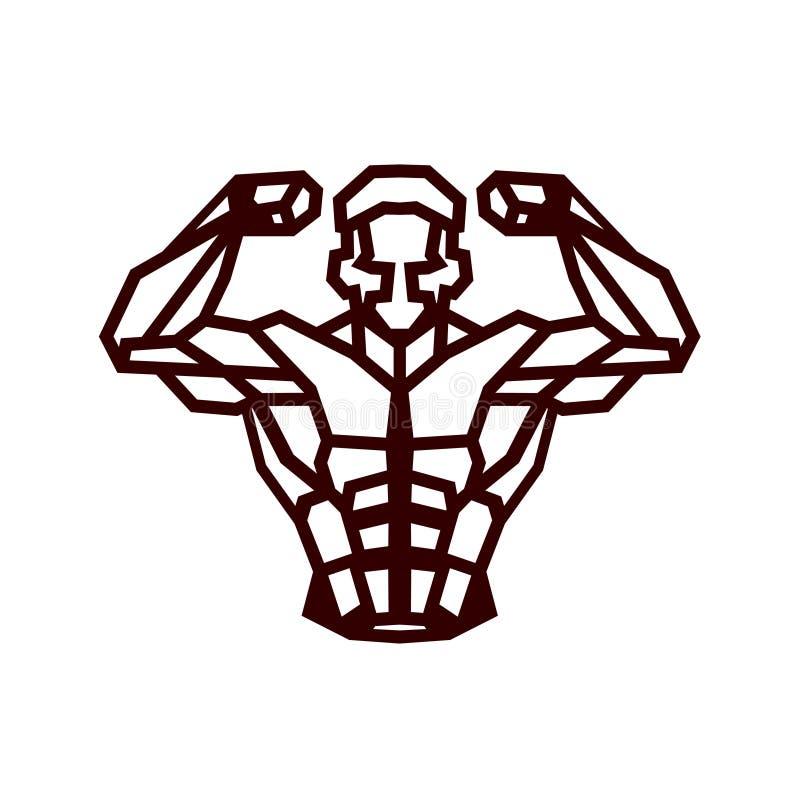 Logotipo poligonal del culturista del vector del esquema libre illustration