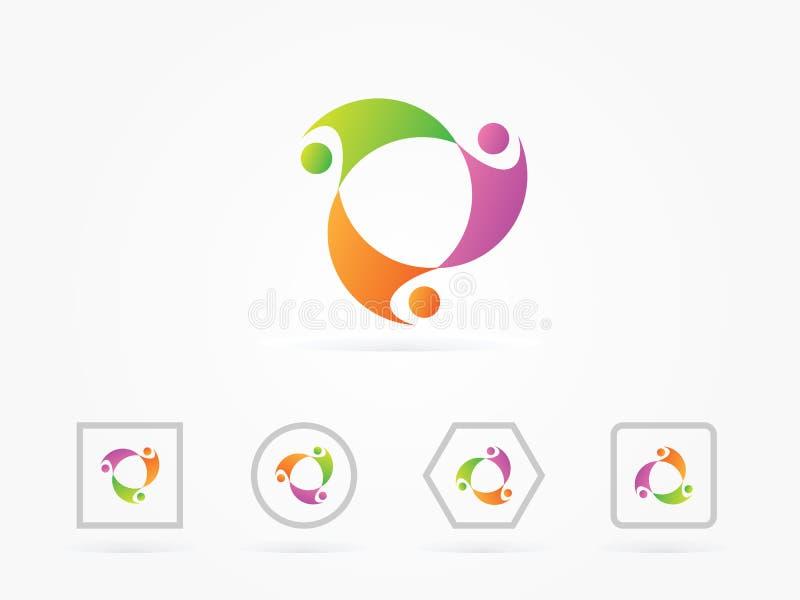 Logotipo potencial humano do círculo da ilustração do vetor ilustração stock