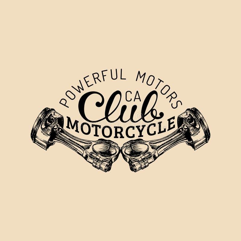 Logotipo potente del club de la motocicleta del vintage del vector de los motores La etiqueta retra del garaje con la mano bosque libre illustration