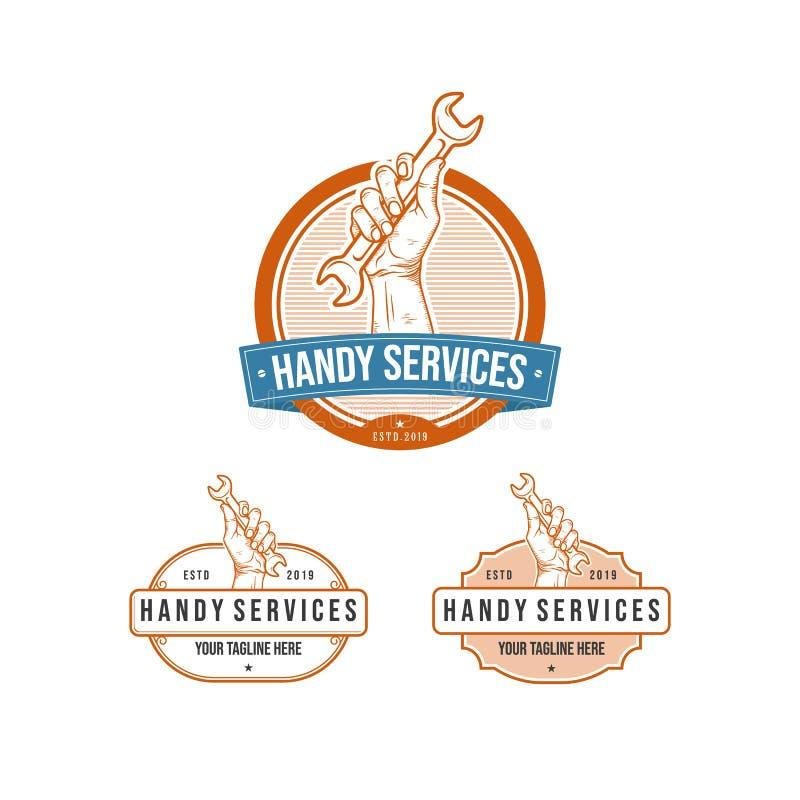 Logotipo práctico profesional de los servicios del vintage con la llave de la tenencia de la mano stock de ilustración