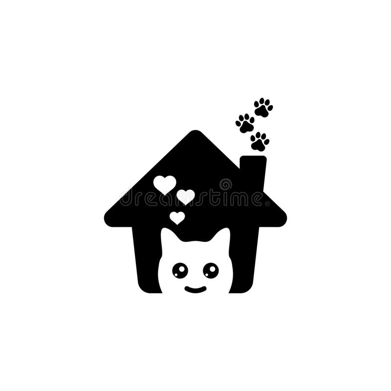 Logotipo precioso de la casa del animal doméstico stock de ilustración