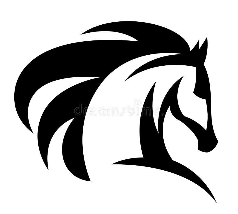 Logotipo preto da cabeça de cavalo ilustração royalty free
