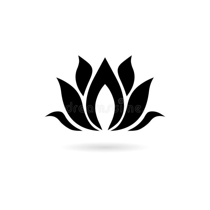 Logotipo preto da flor de Lotus, ícone da flor de Lotus ilustração stock