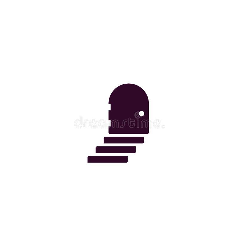 Logotipo preto do vetor de uma escada e de uma porta fechado Logotipo negativo do espaço ilustração do vetor
