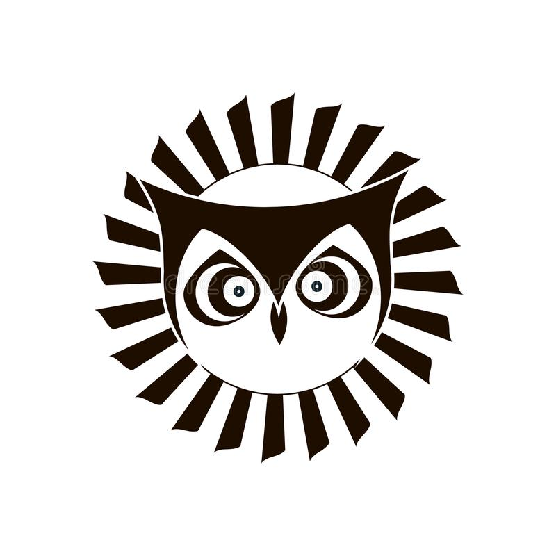 Logotipo preto e branco da coruja de águia Projeto do emblema ilustração royalty free