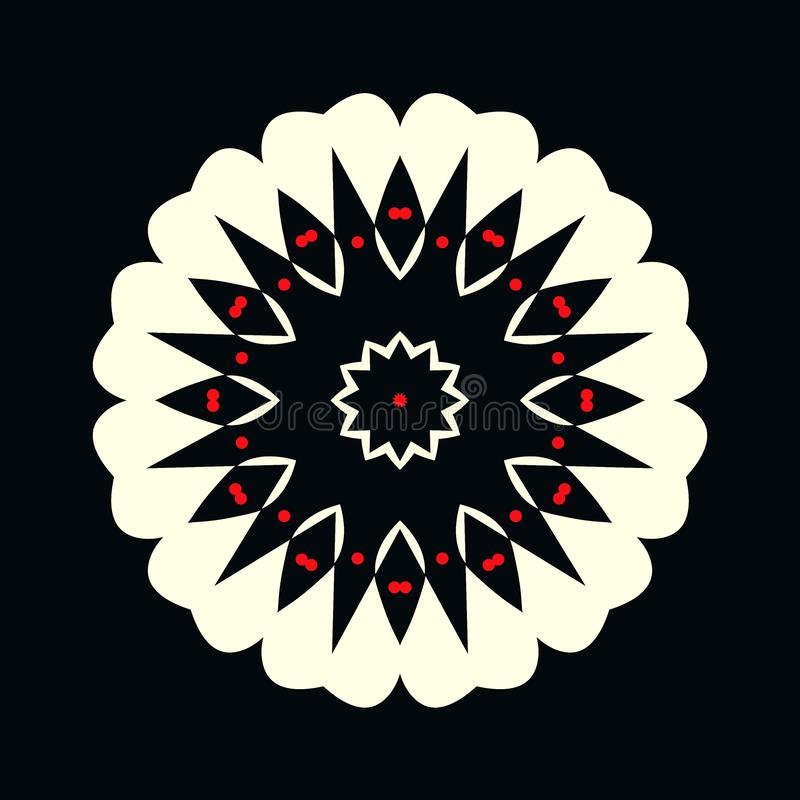 Logotipo preto e branco decorativo com os pontos vermelhos na forma de uma flor ilustração stock
