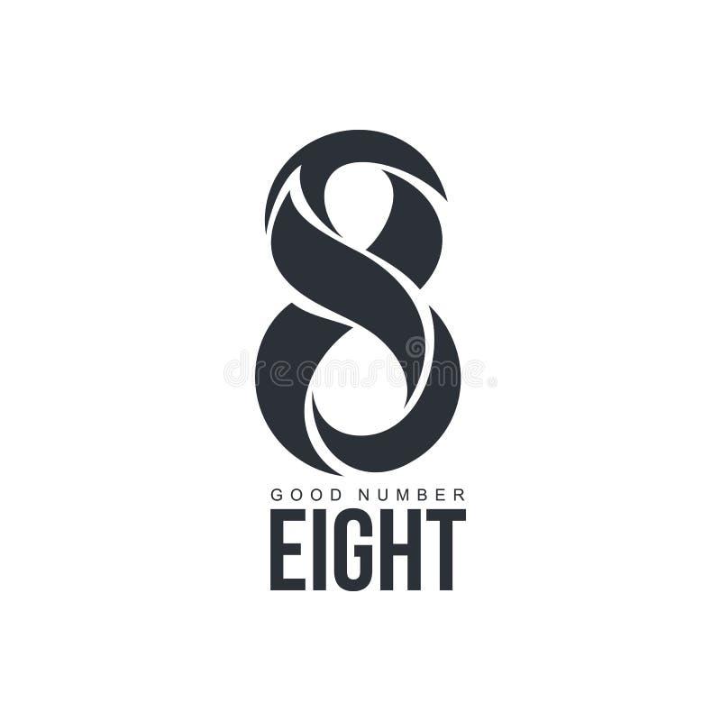Logotipo preto e branco do número oito feito de formas abstratas ilustração stock